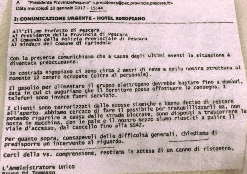 E mail del 18 gennaio 2017 inviata dall'amministratore dell'Hotel di Rigopiano