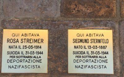 PIANELLA: DUE PIETRE D'INCIAMPO, CREATE DA GUNTER DEMNIG, PER RICORDARE ROSA STREIMER E SIEGMUND STERNFELD, PERSEGUITATI DAI NAZISTI E RIFUGIATI IN ITALIA  La memoria della Shoah fondamento della Repubblica